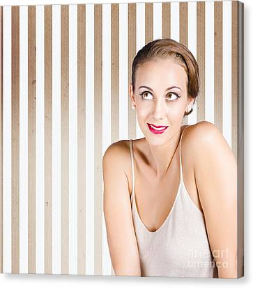 Retro Fashion Model Looking At Copyspace Canvas Print by Jorgo Photography - Wall Art Gallery