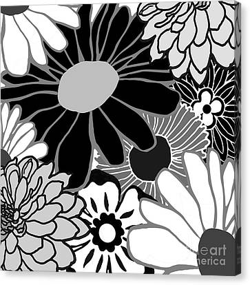 Retro Flowers Canvas Print by Mindy Sommers