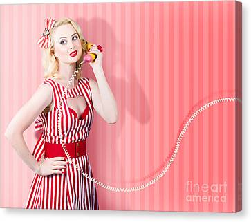 Retro Housewife In 50s Fashion On Vintage Phone Canvas Print by Jorgo Photography - Wall Art Gallery