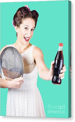 Retro Pin-up Girl Giving Bottle Of Soft Drink Canvas Print by Jorgo Photography - Wall Art Gallery