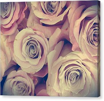 Retro Roses Canvas Print by Marianna Mills