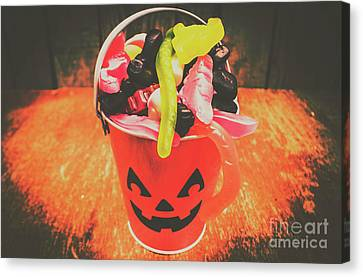 Retro Trick Or Treat Pumpkin Head  Canvas Print by Jorgo Photography - Wall Art Gallery