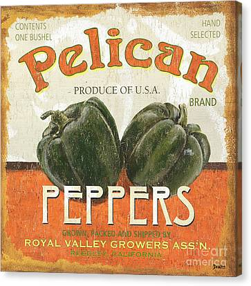 Retro Veggie Labels 3 Canvas Print by Debbie DeWitt