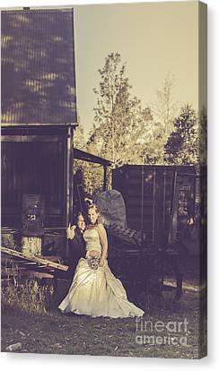 Retro Wedding Couple At Australian Farm Cottage Canvas Print by Jorgo Photography - Wall Art Gallery