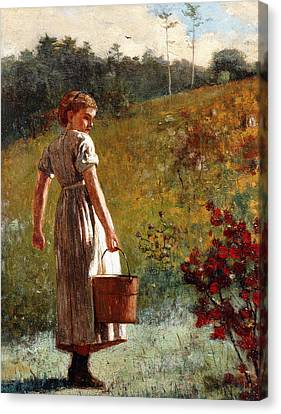 Returning From The Spring Canvas Print by Winslow Homer