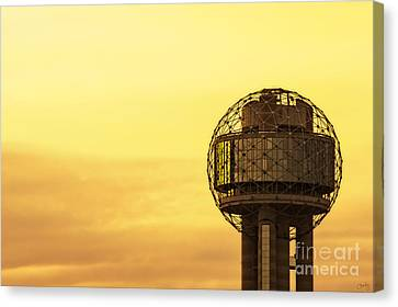 Reunion Tower At Sunrise Canvas Print by Imagery by Charly