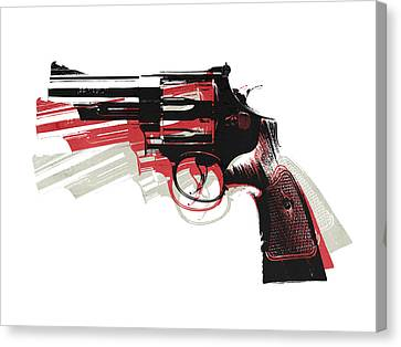 Revolver On White Canvas Print by Michael Tompsett