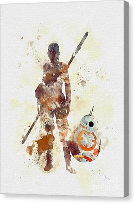 Rey And Bb8 Canvas Print by Rebecca Jenkins