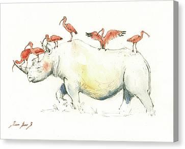 Rhino And Ibis Canvas Print by Juan Bosco