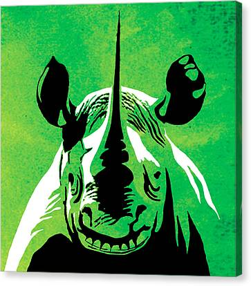 Rhino Animal Decorative Green Poster 5 - By Diana Van Canvas Print by Diana Van
