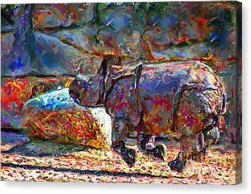 Rhino On The Run Canvas Print by Marilyn Sholin