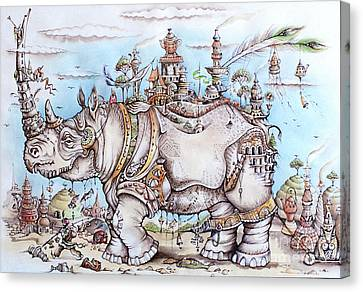 Rhinoceros_home Canvas Print by Anna Armat
