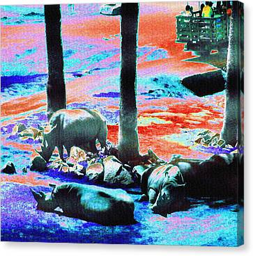 Rhinos Having A Picnic Canvas Print by Abstract Angel Artist Stephen K