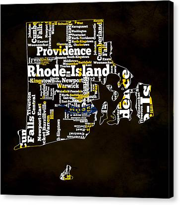 Rhode Island Typographic Map Canvas Print by Brian Reaves