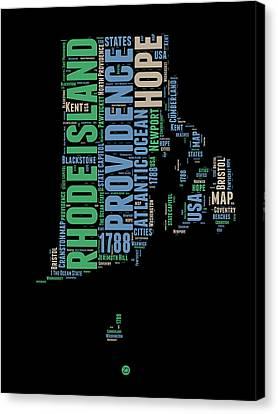 Rhode Island Word Cloud 2 Canvas Print by Naxart Studio