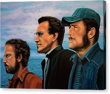 Jaws With Richard Dreyfuss, Roy Scheider And Robert Shaw Canvas Print by Paul Meijering