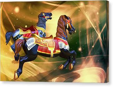 Ride The Painted Ponies Canvas Print by John Haldane