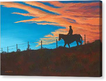 Riding Fence Canvas Print by Jerry McElroy