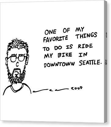 Riding My Bike Comic Canvas Print by Karl Addison