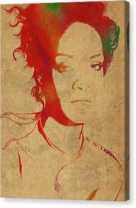 Rihanna Watercolor Portrait Canvas Print by Design Turnpike