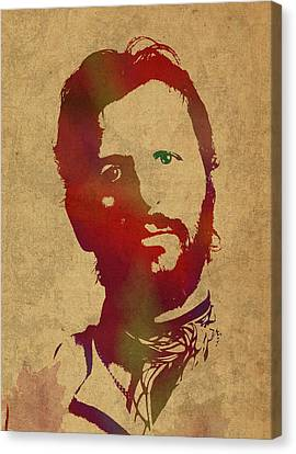 Ringo Starr Beatles Watercolor Portrait Canvas Print by Design Turnpike