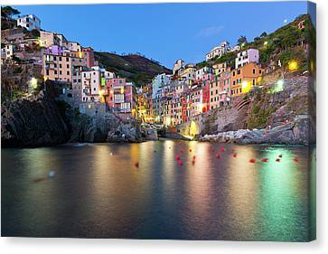 Riomaggiore After Sunset Canvas Print by Sebastian Wasek
