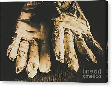 Rising Mummy Hands In Bandage Canvas Print by Jorgo Photography - Wall Art Gallery