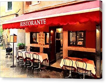 Ristorante In Venice Canvas Print by Mel Steinhauer