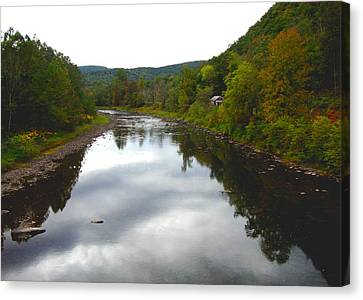River Cabin Canvas Print by Bruce Lennon