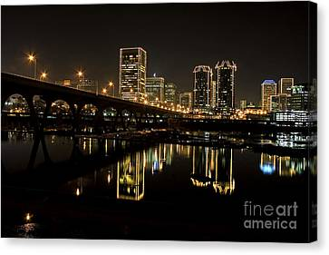 River City Lights At Night Canvas Print by Tim Wilson