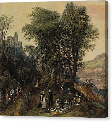 River Landscape In The Spring With Castle And Noblemen Canvas Print by Lucas van Valckenborch