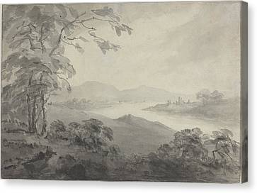 River Landscape With Ruins Canvas Print by William Gilpin
