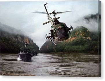 River Patrol Canvas Print by Peter Chilelli