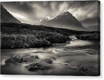 River To The Buachaille Canvas Print by Dave Bowman