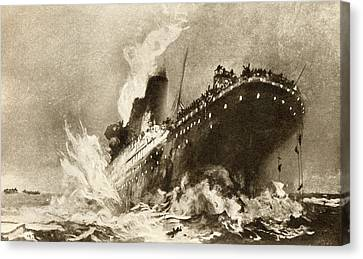 Rms Titanic Of The White Star Line Canvas Print by Vintage Design Pics