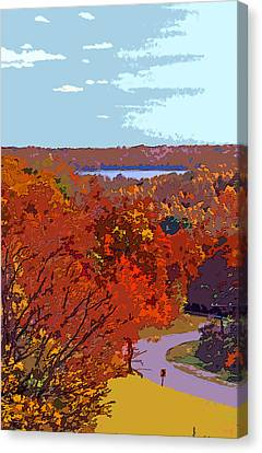 Road In Autumn Near Lake Monroe In Image Canvas Print by Paul Price