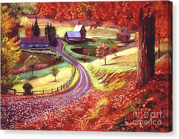 Road To Maplegrove Farm Canvas Print by David Lloyd Glover
