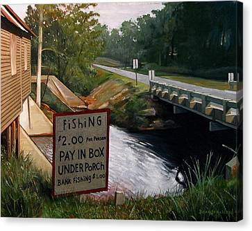 Roadside Fishing Spot Canvas Print by Doug Strickland