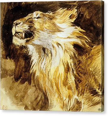 Roaring Lion Canvas Print by Ferdinand Victor Eugene Delacroix
