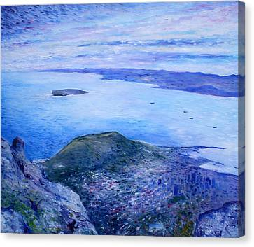 Robben Island From Table Mountain Cape Town South Africa Dawn 2000  Canvas Print by Enver Larney