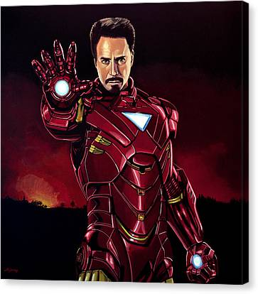 Robert Downey Jr. As Iron Man  Canvas Print by Paul Meijering