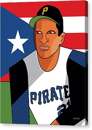 Roberto Clemente Canvas Print by Ron Magnes