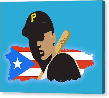 Roberto Clemente T-shirt Graphics Canvas Print by Ron Regalado