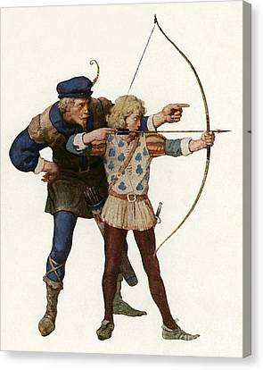 Robin Hood Trains A Young Archer Canvas Print by Newell Convers Wyeth