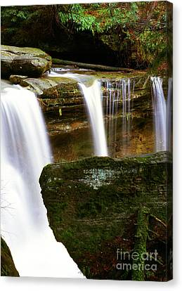 Rock And Waterfall Canvas Print by Thomas R Fletcher