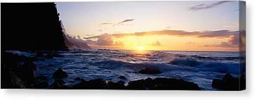 Rock At The Coast, Na Pali Coast Canvas Print by Panoramic Images