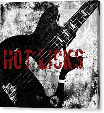 Rock N Roll Guitar Canvas Print by Mindy Sommers
