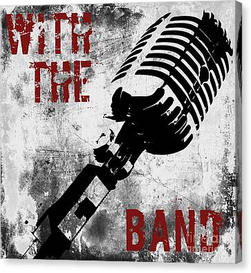 Rock N Roll Microphone  Canvas Print by Mindy Sommers
