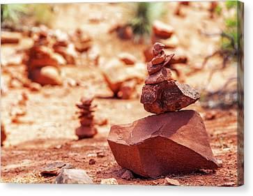 Rock Pile At Vortex In Sedona Arizona Canvas Print by Susan Schmitz