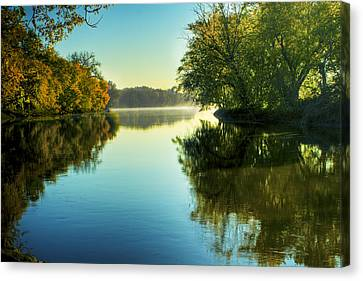 Rock River Autumn Morning Canvas Print by Roger Passman